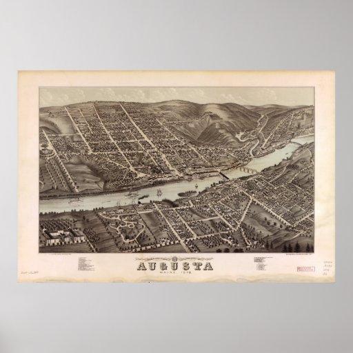Mapa panorámico antiguo de Augusta Maine 1878 Impresiones