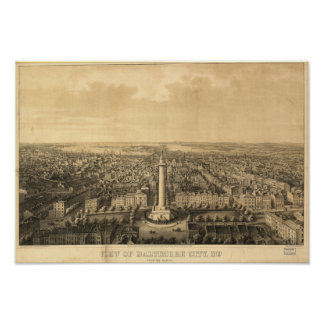 Mapa panorámico antiguo de Baltimore Maryland 1862 Posters