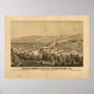 Mapa panorámico antiguo de Belén Pennsylvania 1877 Póster
