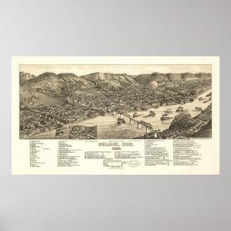 Mapa panorámico antiguo de Bellaire Ohio 1882 Posters