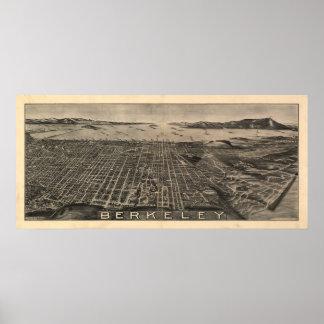 Mapa panorámico antiguo de Berkeley California 190 Póster