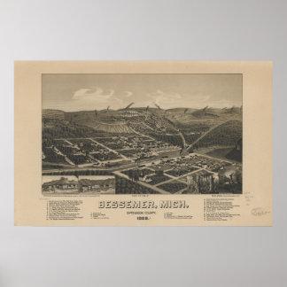 Mapa panorámico antiguo de Bessemer Michigan 1886 Póster