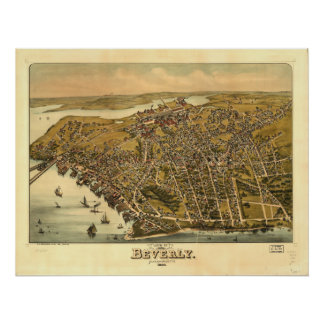 Mapa panorámico antiguo de Beverly Massachusetts Póster