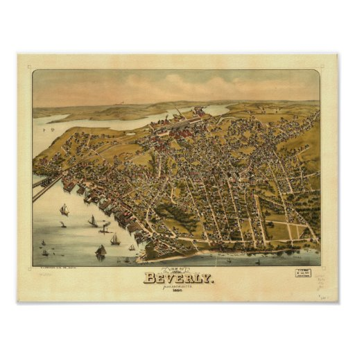 Mapa panorámico antiguo de Beverly Massachusetts Póster