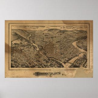 Mapa panorámico antiguo de Binghamton Nueva York 1 Póster