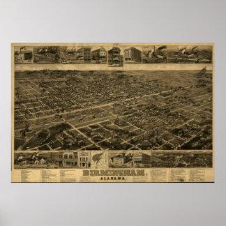 Mapa panorámico antiguo de Birmingham Alabama 1885 Impresiones