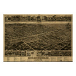 Mapa panorámico antiguo de Birmingham Alabama 1885 Póster