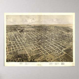 Mapa panorámico antiguo de Bloomington Illinois 18 Póster
