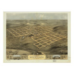 Mapa panorámico antiguo de Boone Iowa 1868 Posters