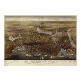 Mapa panorámico antiguo de Boston Massachusetts 18 Poster