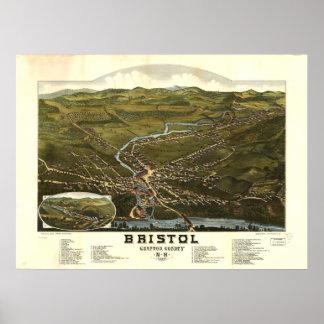 Mapa panorámico antiguo de Bristol New Hampshire Póster