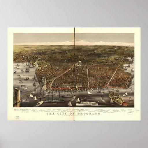 Mapa panorámico antiguo de Brooklyn Nueva York 187 Poster