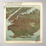 Mapa panorámico antiguo de Brooklyn Nueva York 190 Impresiones