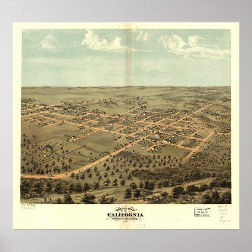 Mapa panorámico antiguo de California Missouri 186 Póster