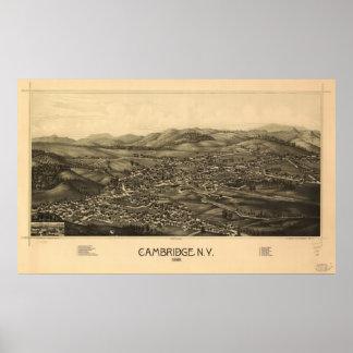 Mapa panorámico antiguo de Cambridge Nueva York 18 Póster