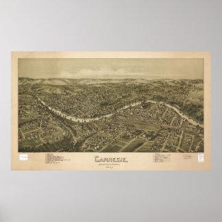 Mapa panorámico antiguo de Carnegie Pennsylvania 1 Impresiones