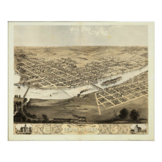 Mapa panorámico antiguo de Cedar Rapids Iowa 1868 Poster