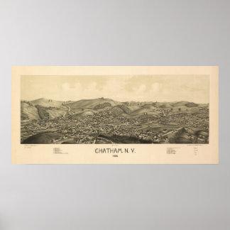 Mapa panorámico antiguo de Chatham Nueva York 1886 Póster