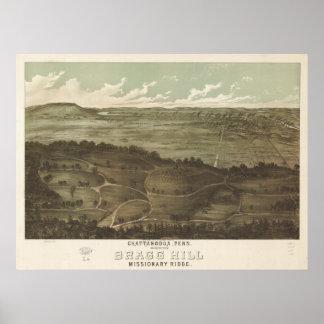 Mapa panorámico antiguo de Chattanooga Tennessee 1 Póster