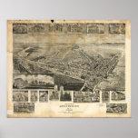 Mapa panorámico antiguo de Chestertown Maryland 19 Poster
