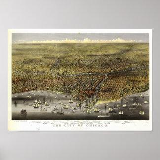 Mapa panorámico antiguo de Chicago Illinois 1874 Póster
