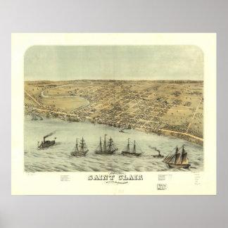 Mapa panorámico antiguo de Clair Michigan 1868 del Posters
