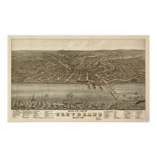 Mapa panorámico antiguo de Cleveland Ohio 1877 Poster