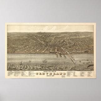 Mapa panorámico antiguo de Cleveland Ohio 1877 Póster