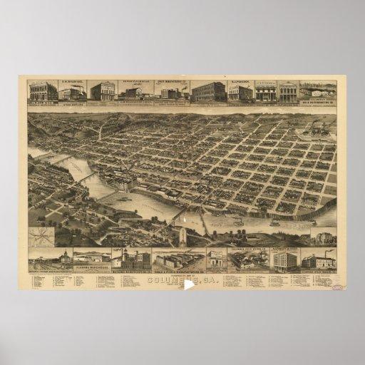 Mapa panorámico antiguo de Columbus Georgia 1886 Impresiones