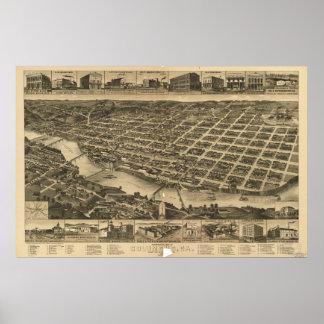 Mapa panorámico antiguo de Columbus Georgia 1886 Póster