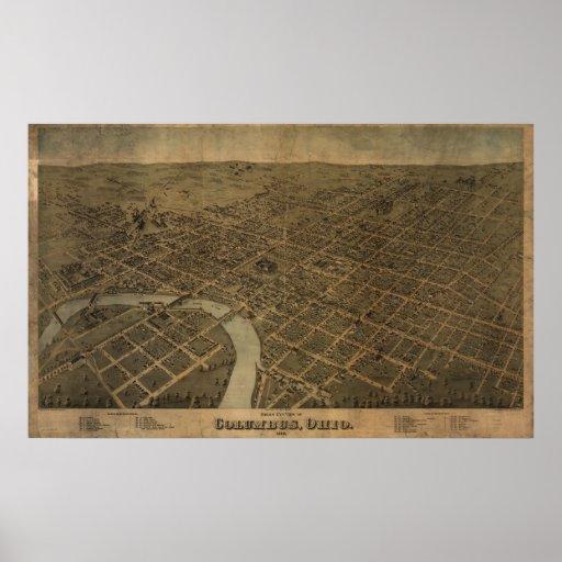 Mapa panorámico antiguo de Columbus Ohio 1872 Poster