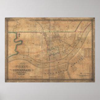 Mapa panorámico antiguo de Covington Kentucky 1838 Posters