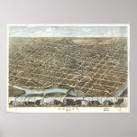 Mapa panorámico antiguo de Dayton Ohio 1870 Póster