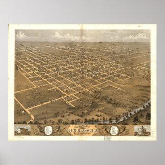 Mapa panorámico antiguo de Decatur Illinois 1869 Póster