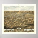 Mapa panorámico antiguo de Decorah Iowa 1870 Posters