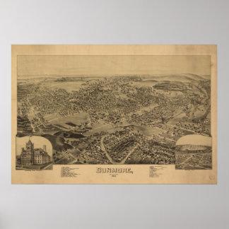 Mapa panorámico antiguo de Dunmore Pennsylvania 18 Impresiones