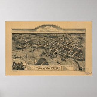 Mapa panorámico antiguo de Edgartown Massachusetts Póster