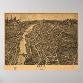 Mapa panorámico antiguo de Elgin Illinois 1880 Poster