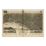 Mapa panorámico antiguo de Evansville Indiana 1888 Posters