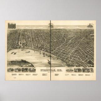 Mapa panorámico antiguo de Evansville Indiana 1888 Póster