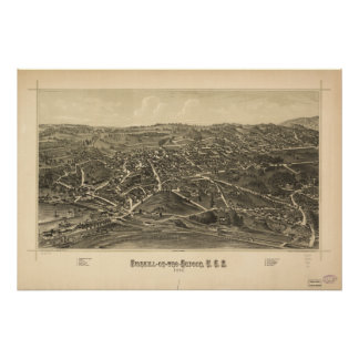Mapa panorámico antiguo de Fishkill Nueva York Póster