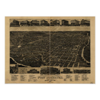Mapa panorámico antiguo de Fort Worth Tejas 1886 Posters