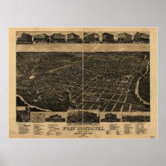 Mapa panorámico antiguo de Fort Worth Tejas 1886 Póster