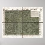 Mapa panorámico antiguo de fuerte Wayne Indiana 19 Poster
