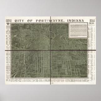 Mapa panorámico antiguo de fuerte Wayne Indiana 19 Póster