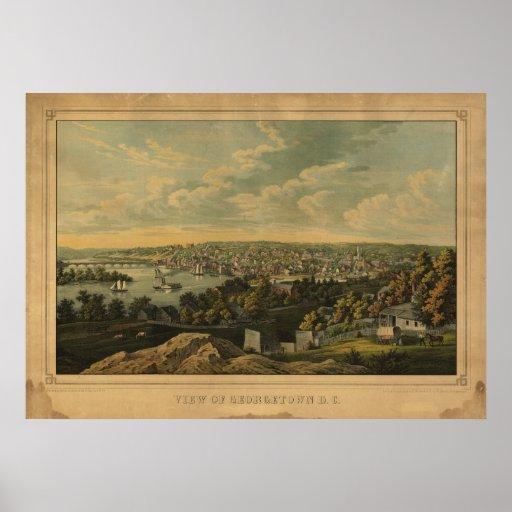 Mapa panorámico antiguo de Georgetown del Washingt Posters