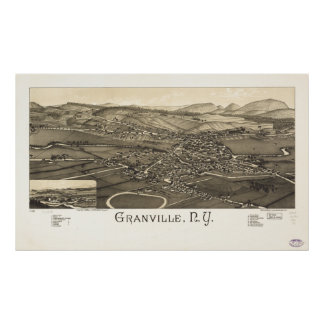 Mapa panorámico antiguo de Granville Nueva York 18 Posters