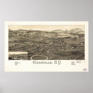 Mapa panorámico antiguo de Granville Nueva York Póster