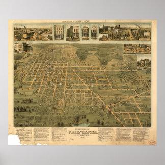 Mapa panorámico antiguo de Greencastle Indiana Póster