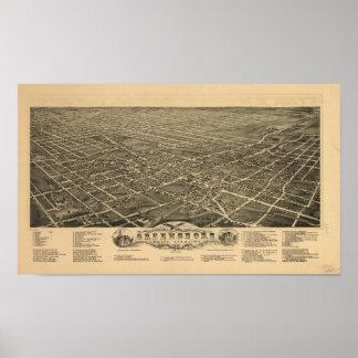 Mapa panorámico antiguo de Greensboro N. Carolina Póster